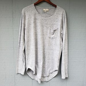 Three Feathers Anthro Speckle Grey LS Tunic Top M